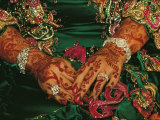 A Brides Hands Respendent with Jewels and Decorated with Henna