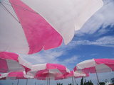 An Arrangement of Pink and White Beach Umbrellas at the Beach