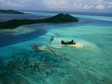 Outer Islands of Bora Bora as Seen from above in a Helicopter