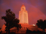 A Rainbow Shines Over the Nebraska State Capitol after a Storm