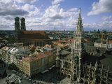 An Aerial View of the Town Hall and the Marienplatz in Munich