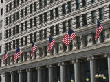 American Flags Decorate the Front of a Michigan Avenue Building