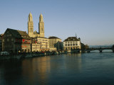 Grossmunster Cathedral and the Limmat River and Bridge in Zurich