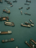 Container Ships in Hong Kong Harbor Waiting for Cargo to Be Loaded