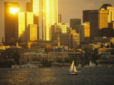 The Seattle Skyline Hovers above Lake Union
