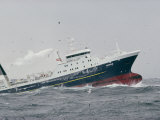 A Factory Trawler Crashes Through High Waves of the Bering Sea