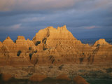 Sunset on the Claystone Buttes of the Badlands Near Cedar Pass
