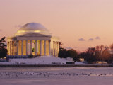 A Winter View of the Jefferson Memorial and the Tidal Basin at Twilight