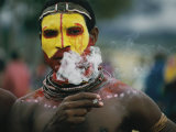 Close View of a Huli Wigman Before the Sing-Sing Ritual Dance