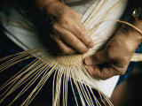 Close View of the Hands of a Hupa Indian Weaving a Basket