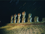 A View of the Night Sky and Illuminated Moai