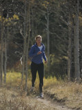 A Runner Takes an Autumn Jog Along Cache Creek