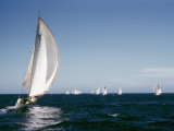 A 35-Foot Sailing Sloop is Seen from Behind