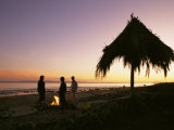 Surfers Stand Near a Fire and Palapa at Hammonds Beach at Sunset