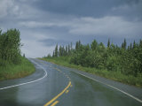 The Alaskan Highway Glistens from Rainfall Near Anchorage  Alaska