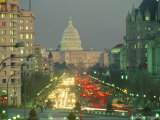 The US Capitol Building Viewed from Pennsylvania Avenue at Twilight