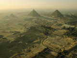 Aerial View of the Pyramids of Giza and Excavation Site