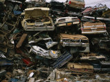 Piles of Old Cars  Stacked and Crushed  Metal Salvage Yard  Nebraska
