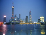 The Shanghai Skyline and Riverfront at Night