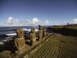 Volcanic Rock Statues  Called Moai  Stand in a Row on Ahu Akivi