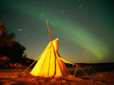 Illuminated Teepee under the Northern Lights