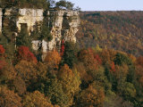 Cliffs Rise Above Autumn Foliage