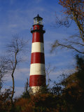 The Assateague Island Lighthouse Against a Blue Sky