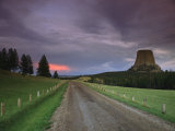 Twilight View down a Dirt Road towards Devils Tower