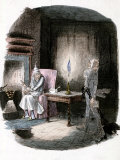 "Illustration of Charles Dickens' ""A Christmas Carol"" Showing Scrooge and Marley's Ghost"