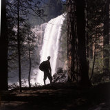 Hiker Looking at Vernal Falls in Yosemite National Park