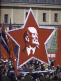 Spontaneous Demonstration After Military May Day Parade  Red Flags and Portraits of Marx and Lenin