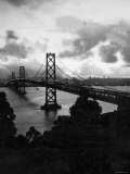 Atmospheric View of the San Francisco Oakland Bay Bridge Viewed from the Oakland Side at Dusk