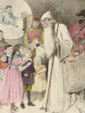 Illustration of Nicolo and the Krampus  Showing a Saint Nicholas Giving Presents to Children