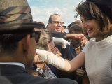 First Lady Jacqueline Kennedy with Husband Greeting Crowds at Airport During Campaign Tour of Texas