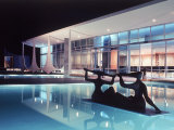 Architect Oscar Niemeyer's Presidential Swimming Pool in Brasilia at Night