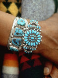 Close Up of Wrist Modeling Turquoise Bracelets Made by Native Americans