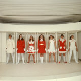 Models Wearing Red and White Ready to Wear Fashions Designed by Andre Courreges
