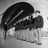 Uniformed Tour Guides Lined Up For Inspection at the 1939 New York World's Fair