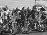 Hell's Angels Motorcycle Gang Members Congregating on Their Bikes Before Heading to Bakersfield