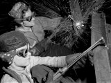 Female Welders at Work in a Steel Mill  Replacing Men Called to Duty During World War II