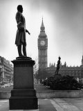 Legendary Clock Tower Big Ben Framed by Statues of Lord Palmerston and Jan Smuts