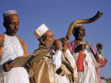 Indian Rabbi Blowing the Shofar Horn on the Jewish Sabbath