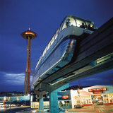 Monorail at Century 21  Seattle World&#39;s Fair Space Needle in Background