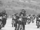 Hell&#39;s Angels Motorcycle Gang Riding in a Pack on the Road