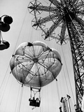 Couple Taking a Ride on the 300 Ft Parachute Jump at Coney Island Amusement Park