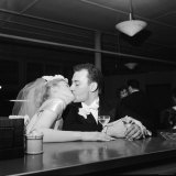 Newlyweds Mr and Mrs Richard K Shull Kissing at Their Wedding Reception