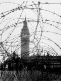 Big Ben and Houses of Parliament Behind Webbing of Barbed Wire  During WWII