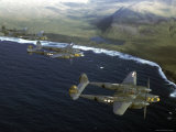 Excellent of a Squadron of American P-38 Fighters in Flight over an Aleutian Island
