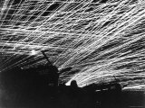Lacework of Anti Aircraft Fire by Marine Defenders of Yontan Airfield Illuminates Skies During WWII