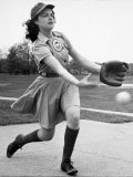 Pro Baseball Pitcher For Rockford Peaches  Caroline Morris  Demonstrating Her Underhanded Delivery